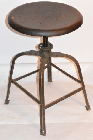 Vintage Industrial Factory Stool Solid Wood Seat Height Adjusts Steel Frame photo