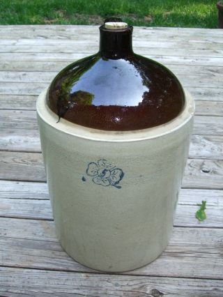 Rare Antique 5 Gal.  Cobalt Blue Four Leaf Clover Stamped Lg.  Handled Jug Crock photo
