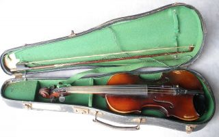 Antonius Stradivarius Cremonensis Violin Faciebat Anno 17 Bow Case Vintage As - Is photo