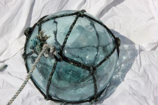 Vintage Japanese Glass Fishing Float,  With Rope photo
