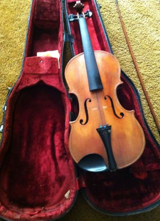 Antique Violin Labeled Chicago A.  D.  1912 Style No 1033 - With Case And Bow photo