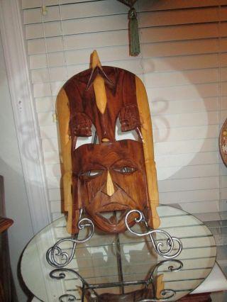 Vtg.  Large African Tribal Wood Craved Double Face (jambo Kenya) photo