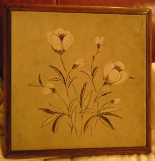 Made In Italy Heavy 9 X 9 Beige Brown White Floral Tile Wood Framed Trivet 2+lbs photo