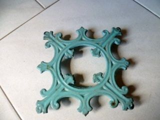 Antique French Enamelware Blue Cathedral Trivet photo