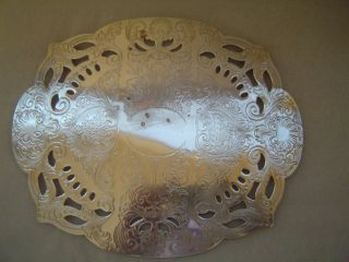 Vintage Hs Silver On Copper Footed Trivet photo