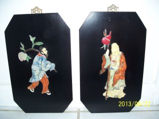 Final Reduction - Antique Chinese Carved Hrd Stone/wooden Blk Laquer Plaques - 2 photo