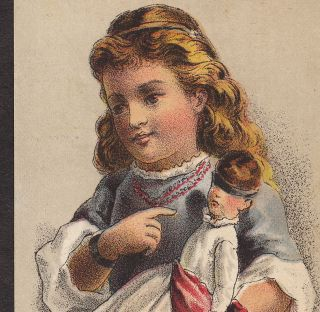 Blind Doll Eye Water Cure Dr.  Thompson ' S Remedy Victorian Advertising Trade Card photo