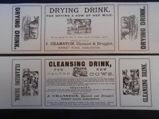 2 X Late 19th C.  Cranston Chemist Darlington Veterinary Packet Labels photo