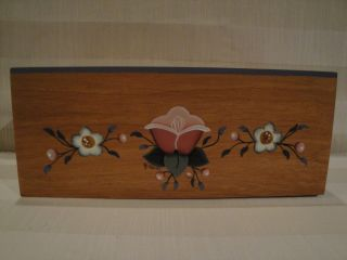 Wooden Tole Painted Kleenex Tissue Box Cover Floral photo