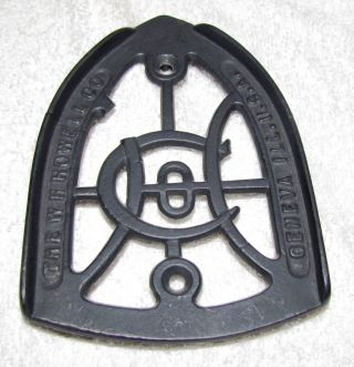 Antique - - Cast Iron - - Sad Iron Trivet - - W.  H.  Howell Co - - Geneva,  Il.  - - Missing Piece photo