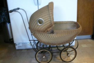 Vntg Baby Doll Brown Wicker Buggy Stroller W/metal Iron Frame Free Troll Baby photo