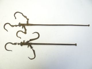2 Antique Old Metal Cast Iron Merchants Scale Balance Arms Parts Hooks Hardware photo