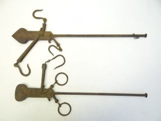 Two Antique Old Metal Cast Iron Merchants Balance Scale Arms Parts Hardware photo