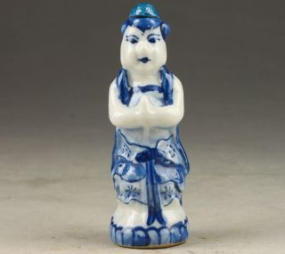 Chinese Vintage Handmade Blue And White Porcelain Japanese Man Statue photo