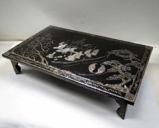 G414: Chinese Lacquer Ware Display Stand With Good Mother - Of - Pearl Work photo