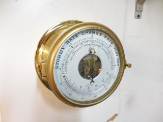 Vintage Schatz German Mariner Ships Clock Barometer Working photo