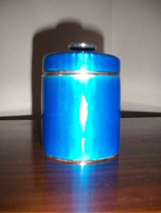 David Andersen Sterling Silver Blue Enamel Lidded Jar Norway Vintage Very Rare photo