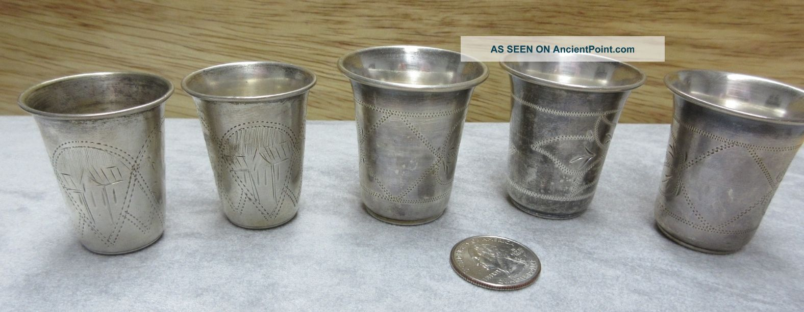 1899 Antique Set Of 5 Imperial Russian 84 Silver Vodka Cups Goblet Cordial Kiev Russia photo