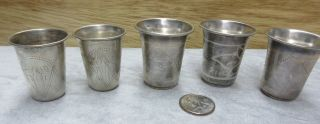 1899 Antique Set Of 5 Imperial Russian 84 Silver Vodka Cups Goblet Cordial Kiev photo