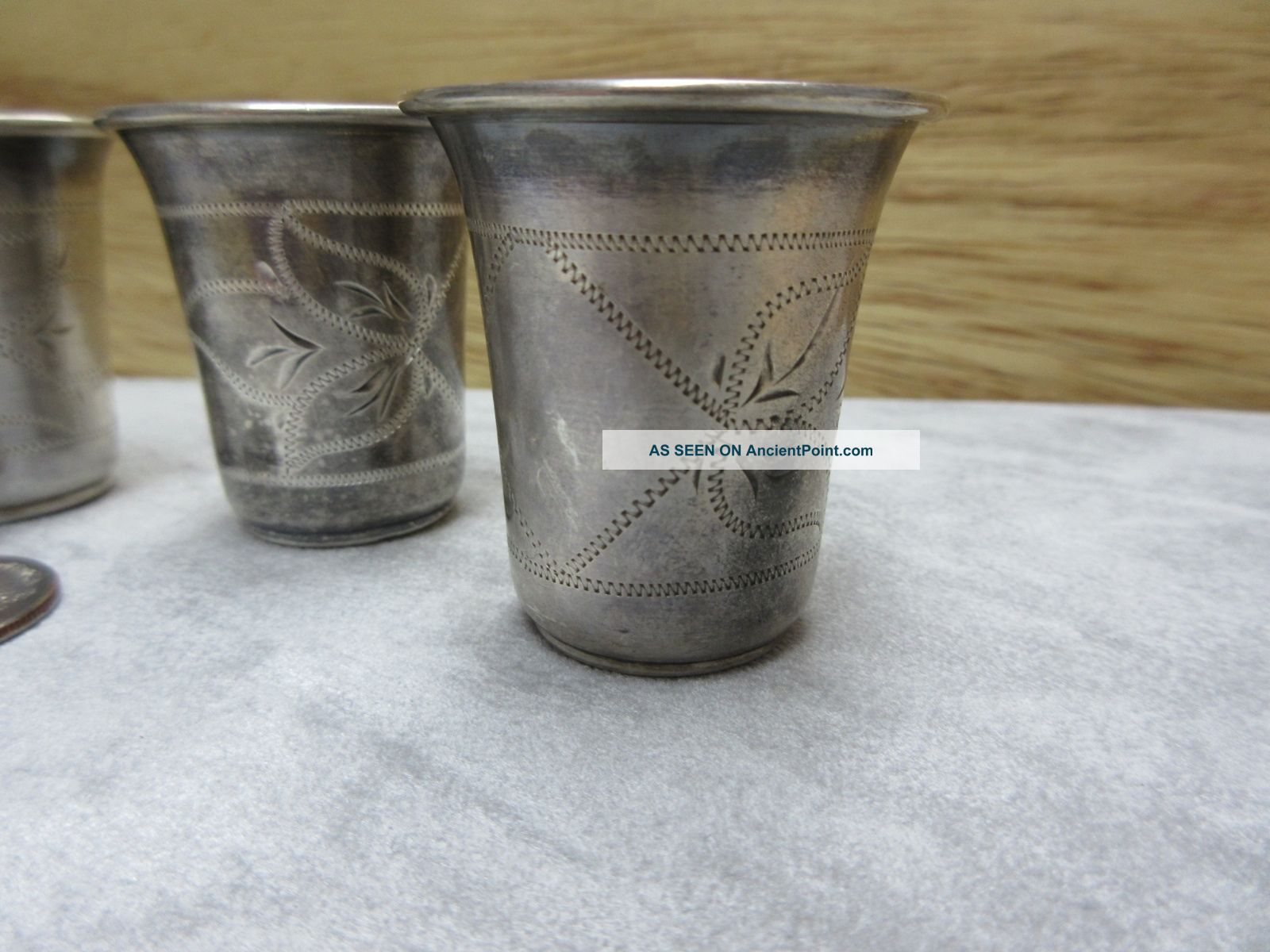 1899 Antique Set Of 5 Imperial Russian 84 Silver Vodka Cups