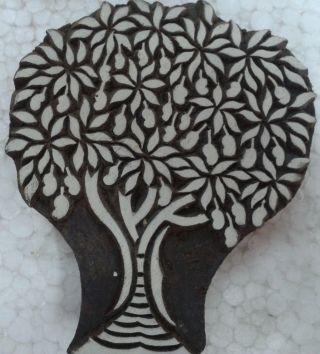 Rare Mango Tree Wood Wooden Block Print Craft India Stamp Rare Design A 109 photo