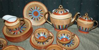 Rare Antique Japanese Tea Service - Thousand Faces Chikaramachi Pattern photo
