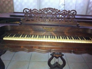 Antique Steinway Square Grand Piano Built 1870 Carved Rosewood Case On All Sides photo