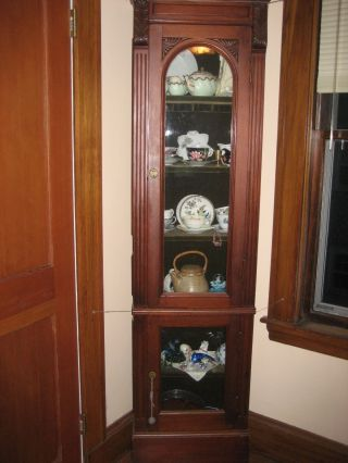 1800 - 1899 Cabinets And Cupboards Victorian Walnut Narrow Standing China Cabinet photo