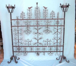 Antique Handmade Scrolled Wrought Iron Firescreen With Birds photo