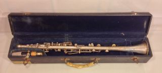 Antique Pedler Hoosier Silver Colored Clarinet In Case W/ Mouthpiece Elkhart In photo