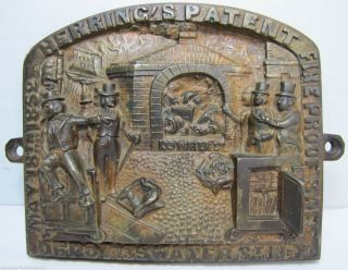 Antique Herring ' S Fireproof Safe Bronze Plaque Pat 1852 New York Ornate Rare photo