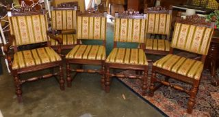 Antique Set Of 6 Victorian 1 Arm Jacobian Chairs Tapestry Upholstery photo