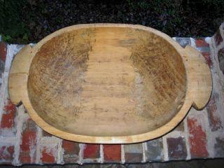 Antique French Primitive Carved Pine Wood Dough Bowl Farm Table Trough 36 photo