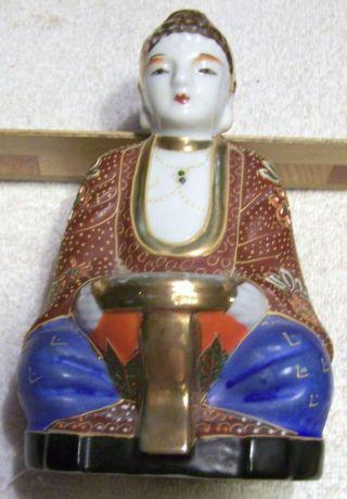 Ant.  / Vint.  Satsuma Moriage Buddha W/ Offering Bowl - Incense Burner? photo
