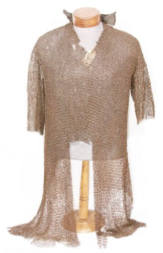 Antique Indo Persian Mughal Indian Chainmail Armor Riveted Leather photo