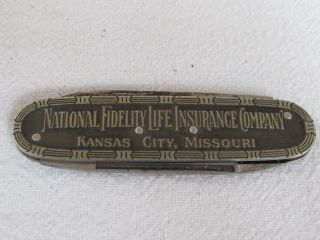 Antique 2 Blade Pocket Knife National Fidelity Life Insurance Co photo