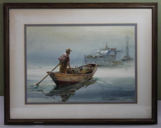 Vintage Marshall Joyce Fisherman Fishing Boat Rockport Watercolor Painting photo