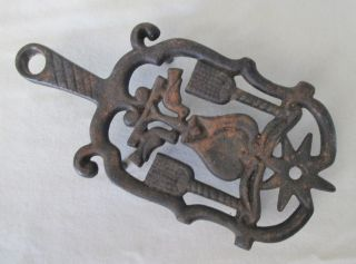 Antique Cast Iron 4 Leg Trivet,  2 Doves,  Star.  Hole For Hanging photo
