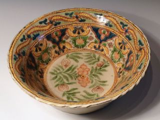 Extra Large Antique Colonial Mexican Talavera Basin Lebrillo Charger photo
