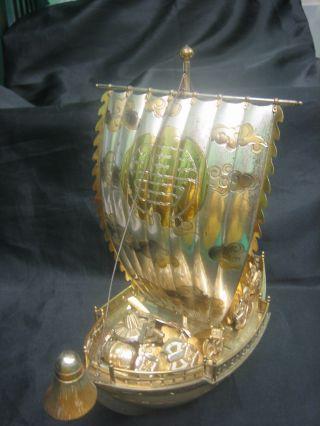 Japanese Treasure Ship Sterling Silver And Gilt Rare 28 Ounces photo