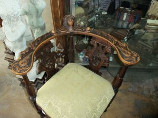 Rare Antique French Side Chair Hand Carved With Gothic Images