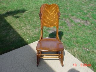 Rare Antique Victorian Tiger Oak Child S Or Doll Rocking Chair Early Rocker photo