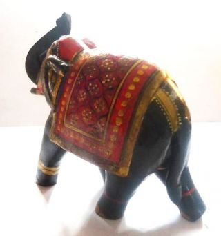 Old Vintage Hand Crafted Wooden Lacquer Painted Decorative Elephant Toy photo