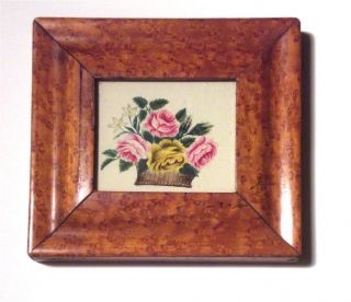 Nr Antique 19th Cent Miniature Theorem Basket Of Flowers,  Birds Eye Maple Frame photo