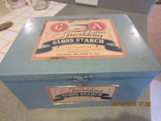 Vintage Looking 2006 Metal Box To Advertise Starch Paper Labels Cute photo