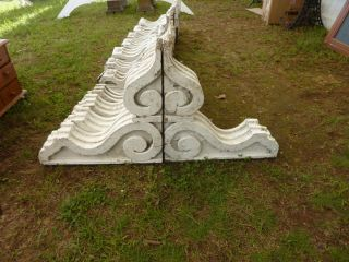 Large Pr C1880 Victorian Corbel Brackets Crusty White Paint 22.  5 X 22.  5 X 5.  5