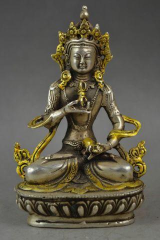 Chinese Tibet Handwork Art Cupronickel Carving Lamaism Devout Buddha Statue photo