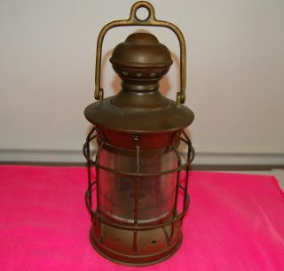 Antique Brass Nautical Maritime Ship Lantern Circa About 1900 photo