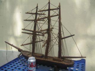 True 19c Folk Art Wood Copper Three Masted Barque Bark Sailing Ship Whaling photo