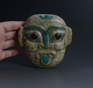 Chinese Qijia Style Handwork Jade Head Portrait Statue (turquoise Inlaid) - Jr11426 photo